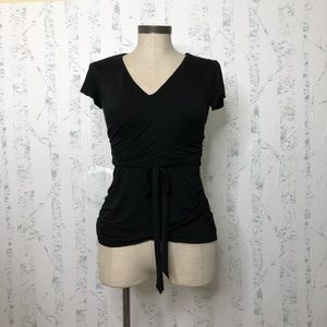 Bailey 44 wrap effect ruched jersey top